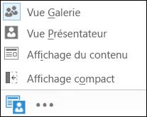 Capture d'écran des différentes options d'affichage possibles, dans laquelle l'option Vue Galerie est sélectionnée