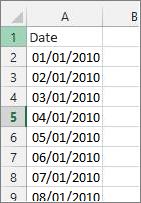 Colonne de date dans Excel