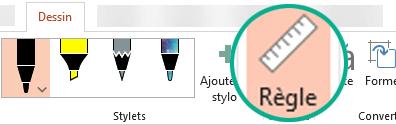 Le gabarit Règle se trouve sur l'onglet Dessin du ruban dans PowerPoint2016.