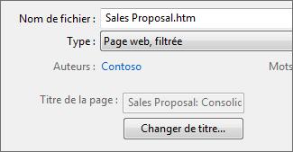 La boîte de dialogue Enregistrer sous avec l'option Page web, filtrée