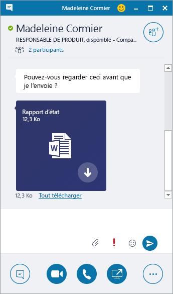 Capture d'écran d'une fenêtre de messagerie instantanée avec une pièce jointe entrante.