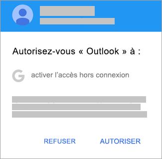 Appuyez sur Autoriser pour autoriser l'accès d'Outlook en mode hors connexion.