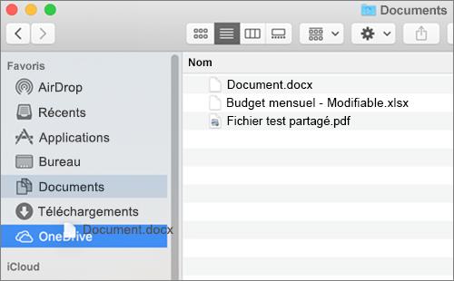 Fenêtre Mac Finder affichant la fonction glisser-déplacer pour déplacer des fichiers