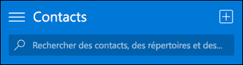 Barre d'outils contacts