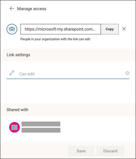 À partir de ce menu, vous pouvez modifier vos paramètres de partage.