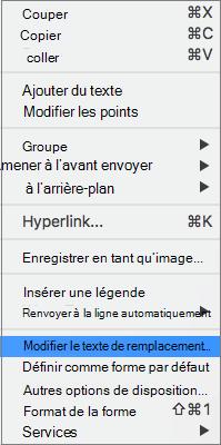 Option de texte de remplacement dans un menu contextuel pour ajouter un texte de remplacement à une forme