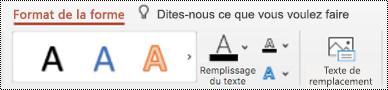 Bouton texte de remplacement dans le ruban d'une forme dans PowerPoint pour Mac.