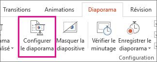 Bouton Paramètres du diaporama