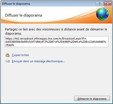 Boîte de dialogue Diffuser le diaporama présentant une URL de diaporama.