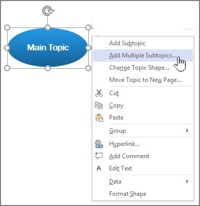 sélectionner une rubrique, cliquer avec le bouton droit et sélectionner ajouter plusieurs sujets