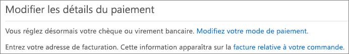 Volet Modifier les détails du paiement pour un abonnement actuellement payé par facture.