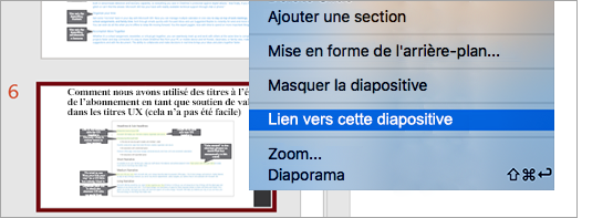 Affiche un lien vers une diapositive dans une présentation