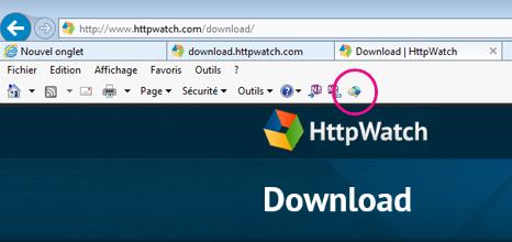 Barre d'outils de commandes d'Internet Explorer avec l'icône HTTPWatch affichée