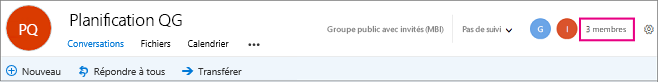 Sélectionnez le nombre de membres pour accéder à la page membres.