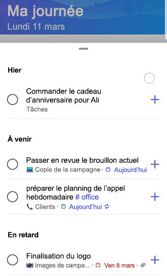 Capture d'écran de to-do sur Android avec des suggestions entièrement ouvertes et regroupées par hier, à venir et en retard.