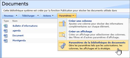 Sélectionnez l'option Paramètres de bibliothèque de documents dans le menu Paramètres