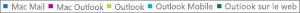 Capture d'écran: Liste des clients de messagerie. Cliquez sur le client de messagerie pour obtenir des données de rapport supplémentaires le concernant.
