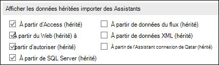 Image des options de récupérer et transformer héritée Assistant à partir du fichier > Options > données.