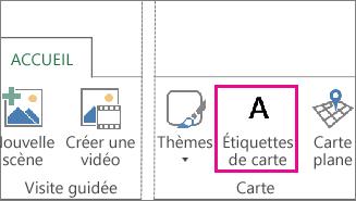 Bouton Étiquettes de carte sous l'onglet Accueil de Power Map