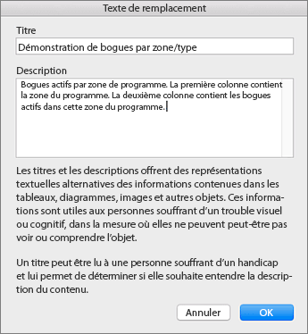 Capture d'écran de la boîte de dialogue Texte de remplacement
