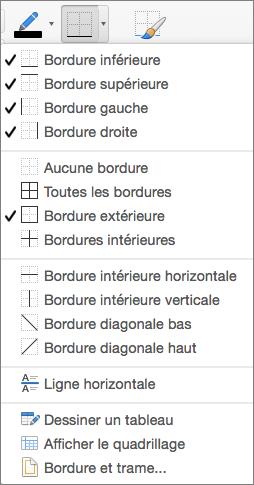 Les options de bordure sont affichées pour la création de tableau
