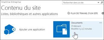 Sélectionner Documents sur la page Contenu du site