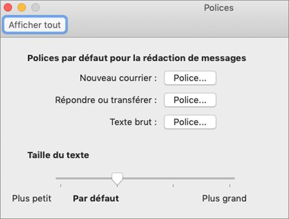 Boîte de dialogue Polices