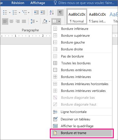Option Bordure et trame sélectionnée sous l'onglet Accueil (sous Bordure)