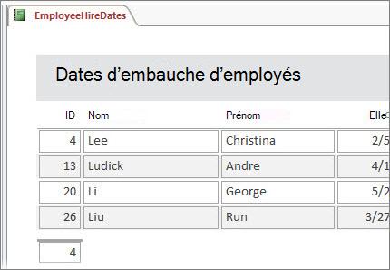 État des employés filtré pour inclure uniquement les employés dont le nom commence par la lettre «L».