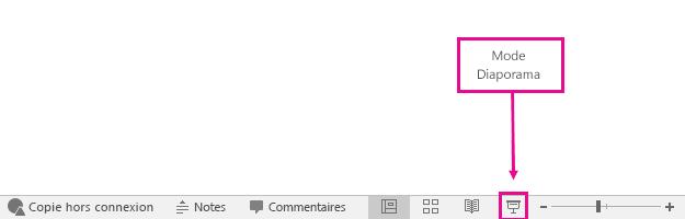 montre où se trouve le bouton du mode Diaporama dans PowerPoint