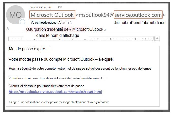 Message de phishing l'emprunt d'identité service.outlook.com