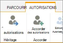 Supprimer le bouton autorisations uniques