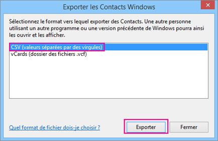 Sélectionnez CSV, puis Exporter.