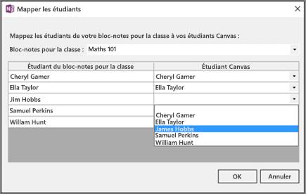 Volet Mapper les étudiants comportant une liste  Le nom d'un étudiant est sélectionné.