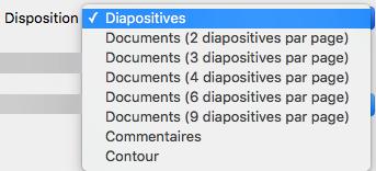 Sélectionnez la disposition Diapositive dans la boîte de dialogue Imprimer