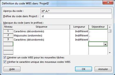 Image de la boîte de dialogue Définition du code WBS