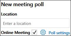 Capture d'écran du volet Sondage de nouvelle réunion