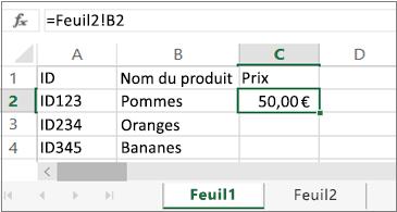 Feuille de calcul affichant «Feuil2» dans la barre de formule