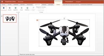 Une diapositive avec une animation 3D