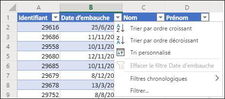 Utilisez le filtre table d'Excel pour trier dans l'ordre croissant ou décroissant