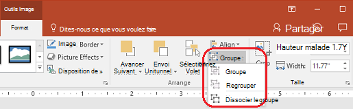 La commande Dissocier sous l'onglet Format du ruban PowerPoint, sous Outils Image.