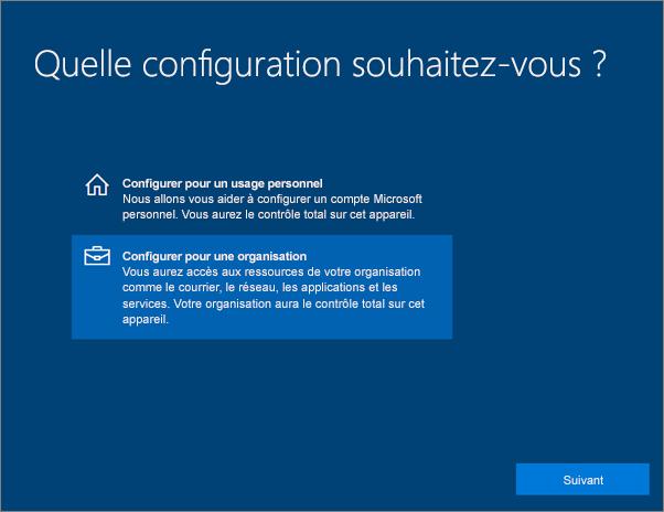Dans la page Type d'installation, sélectionnez Configurer pour une organisation.