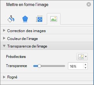Régler la transparence de couleurs dans le volet Format de l'image