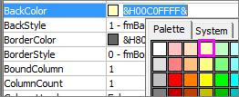 Propriété Remplissage de couleur d'une zone de liste modifiable