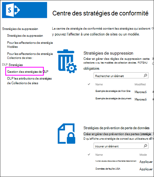 Affectations de stratégie pour l'option de Collections de sites