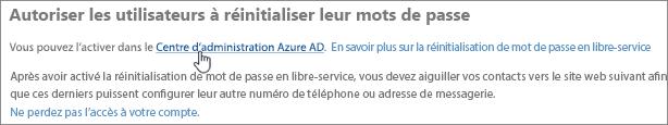 Cliquez sur le lien pour accéder au Centre d'administration Azure.
