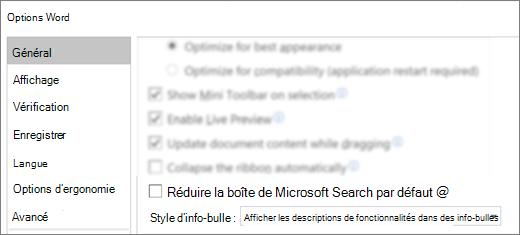 La boîte de dialogue Options de > de fichier présentant l'option réduire le champ de recherche par défaut de Microsoft.