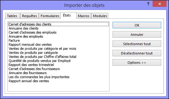 Boîte de dialogue Importer les objets dans une base de données Access