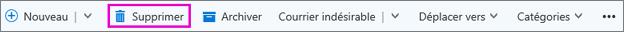 Bouton Supprimer dans le ruban d'Outlook