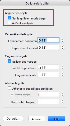 Dans les Options de la grille, définissez les options d'alignement et les mesures de la grille.